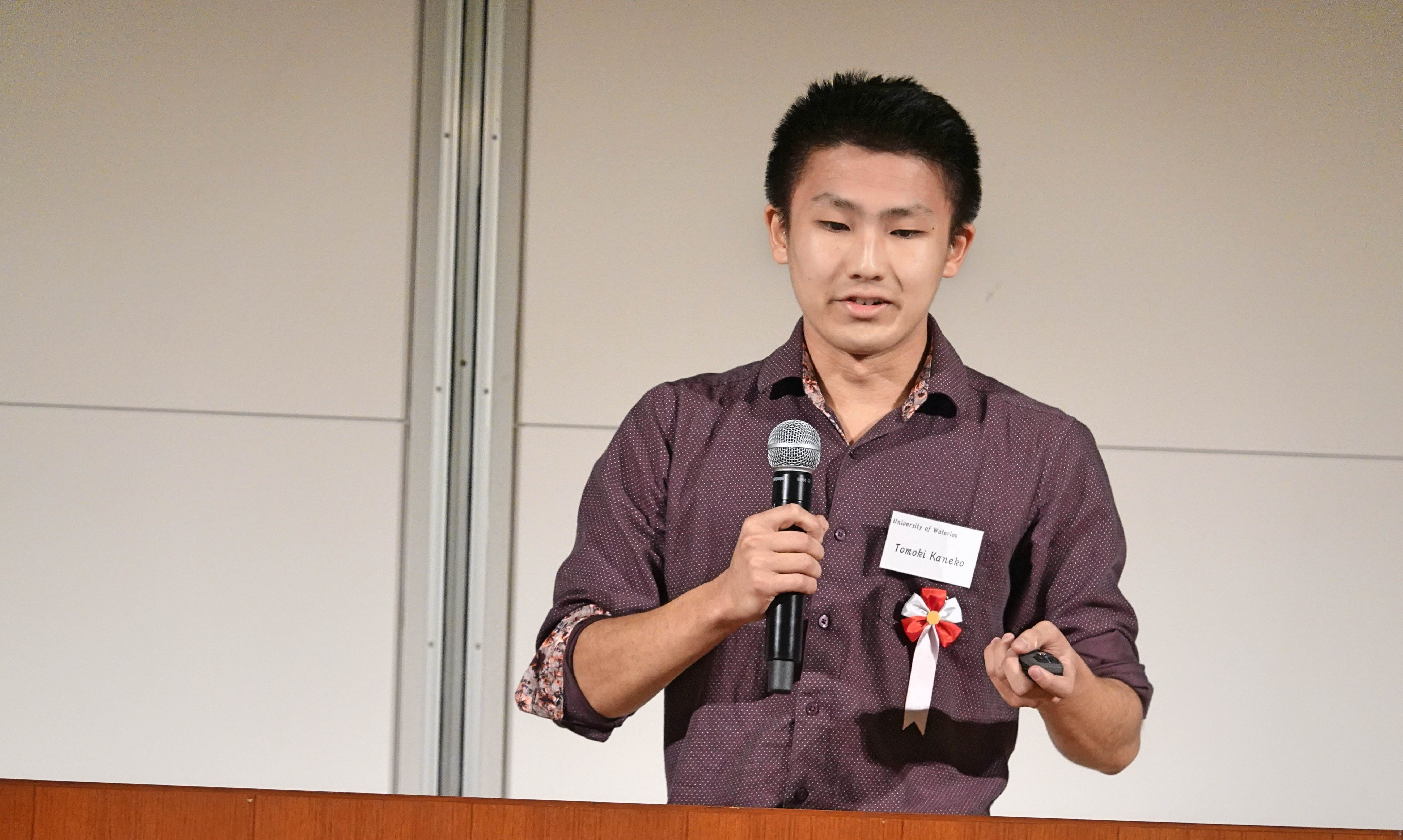 Tomoki presented his design at the final.